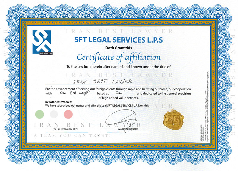 Certificate of Affiliation between SFT and Iran Best Lawyer